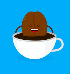 cute smiling happy coffee bean lies vector image vector image