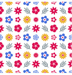 digital blue red flowers set vector image vector image