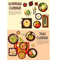 Exotic oriental dishes of korean and thai cuisine vector