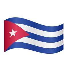 flag of cuba waving on white background vector image