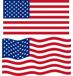 Flat and waving american flag vector