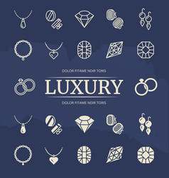 jewelry and diamonds line and silhouette icons set vector image