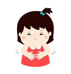 little girl having stomach ache cartoon vector image