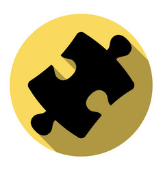 Puzzle piece sign flat black icon with vector