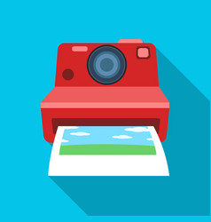 retro photocamera icon in flat style isolated on vector image
