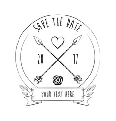 Save the date rustic card greeting love decoration vector