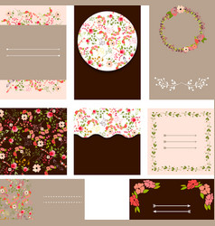 Set of beautiful templates for wedding cards vector