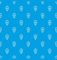 Shield pattern seamless blue vector