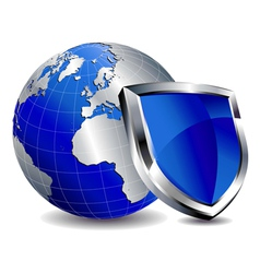 Silver Shield Protection with Silver World vector image vector image
