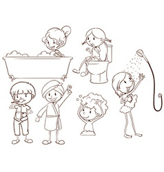 Simple sketches of the people taking a bath vector image
