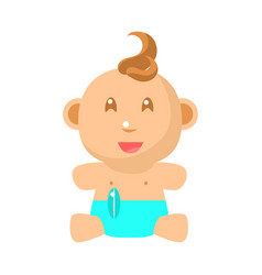 Small happy baby sitting in blue nappy vector