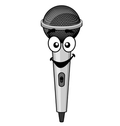 Smiling cartoon microphone vector image