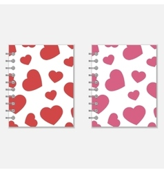Spiral notebook heart design vector