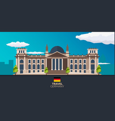 Travel to germany reichstag flat vector