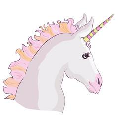 unicorn icon isolated on white head portrait vector image