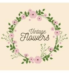 vintage flowers frame decoration vector image vector image