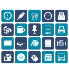 Flat business and office tools icons vector