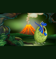 blue dragon in the forest vector image