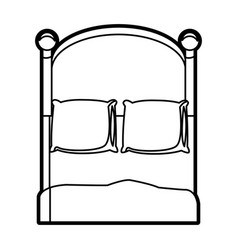 Bedroom two pillow blanket wooden image outline vector