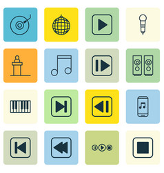 Set of 16 multimedia icons includes gramophone vector