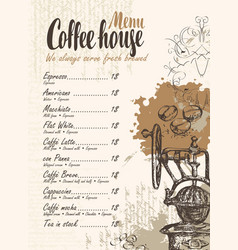 Coffee menu with price list and old coffee mill vector