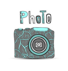 hand drawn with isolated icons of photo camera in vector image