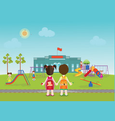 kids playing on playground with equipment vector image