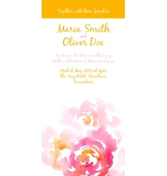 Background with pink watercolor bouquet vector