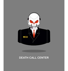 Death call center skull with headset skeleton in vector