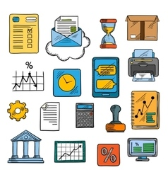 Business office financial symbols sketch style vector
