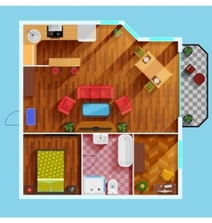 One bedroom apartment floor plan vector