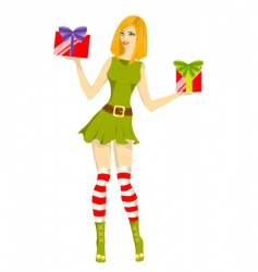 Girl santa helper vector