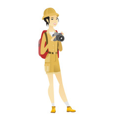 Asian nature photographer with digital camera vector