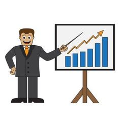 Cartoon businessman doing a presentation vector image