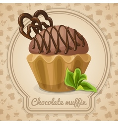 Chocolate muffin poster vector image vector image
