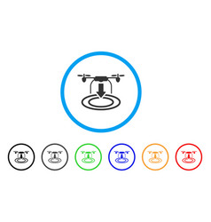 drone landing rounded icon vector image vector image