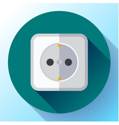 Electric white socket icon flat style vector