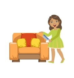 Girl Cleaning Dust Off Armchair WIth Brush vector image