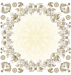 Gold easter round frame vector