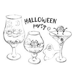 halloween cocktails hand draw vector image vector image