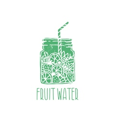 Hand drawn logo with fruit water in mason jar with vector