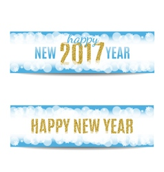 Happy new year 2017 banners golden text and vector