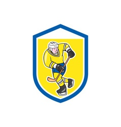 Ice Hockey Player With Stick Shield Cartoon vector image
