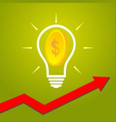 Light bulb and dollar coin idea innovation vector