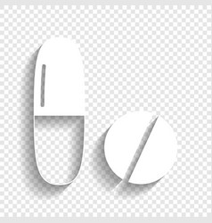 Medical pills sign white icon with soft vector