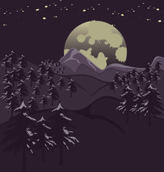 Mountains in the moonlight vector