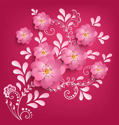 paper cut sakura flowers with mehndi vector image