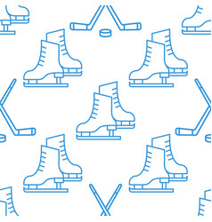 Seamless pattern with skates and clubs linear icon vector