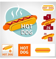 Set hot dog symbol vector image vector image