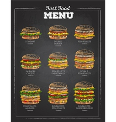 Set of Vintage chalk drawing Sandwich sketch vector image